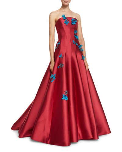 Floral-Appliqué Strapless A-Line Gown, Rose Red