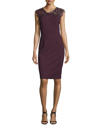 Rosaly Lace-Yoke Sheath Dress, Bordeaux