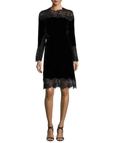 Anderson Long-Sleeve Velvet & Lace A-Line Dress, Black