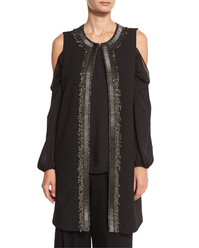 Cheyenne Long Embroidered Vest, Black