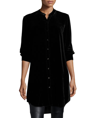 Long Washable Velvet Tunic Top, Black