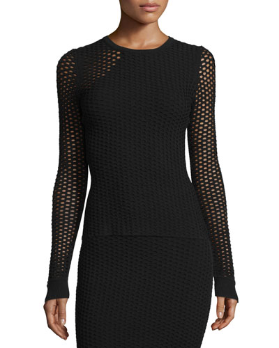 Long-Sleeve Netted Mesh Top, Black