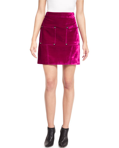 Croc-Embossed High-Waist Mini Skirt, Plum-Purple