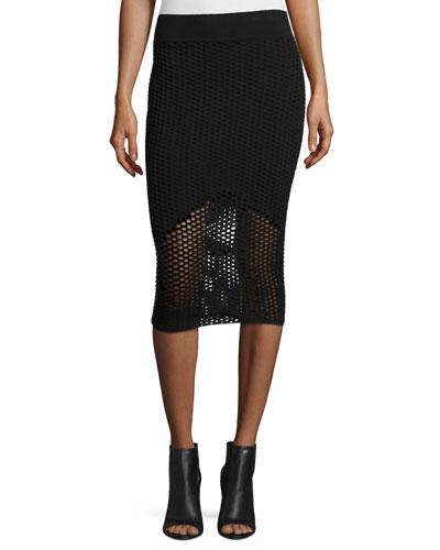 Netted Mesh Midi Skirt, Black
