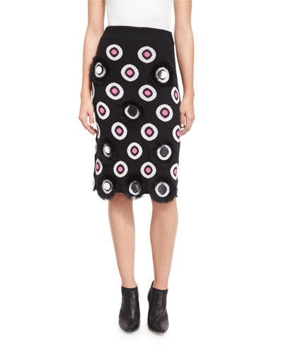 Eclipse Intarsia Pencil Skirt, Black