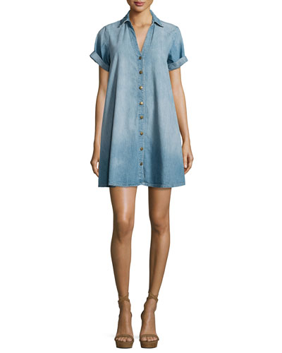 The Rolled-Sleeve Shirtdress, Blue