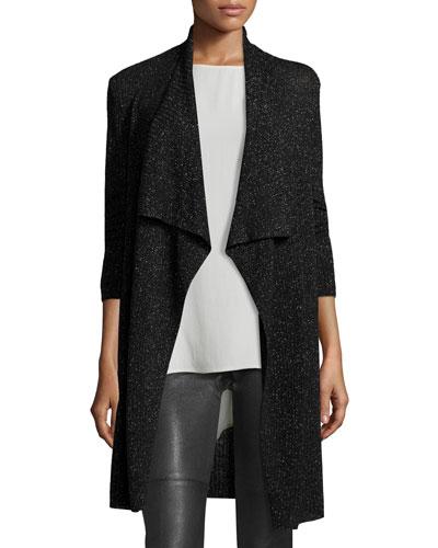 Merino Shimmer Cardigan, Black, Plus Size