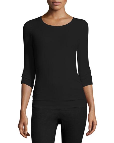 ATM Anthony Thomas Melillo Jackie Knit Ballet Top, Black