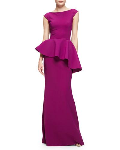 Etheline Cap-Sleeve Peplum Column Gown, Vinaccia