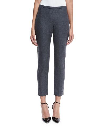 Marcia Stretch-Wool Cropped Pants, Carbon Melange
