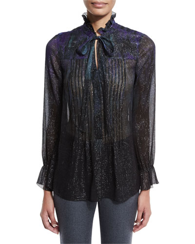 Everette Long-Sleeve Pintucked Metallic Silk Blouse, Jasmine