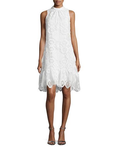 Sleeveless Lace Midi Dress, Ivory