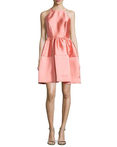 Sleeveless Satin A-Line Dress, Coral