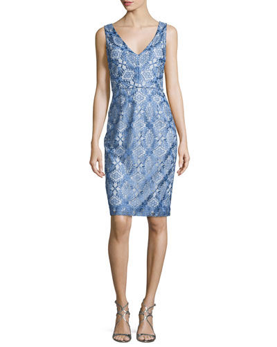 Sleeveless Printed V-Neck Cocktail Dress, Blue