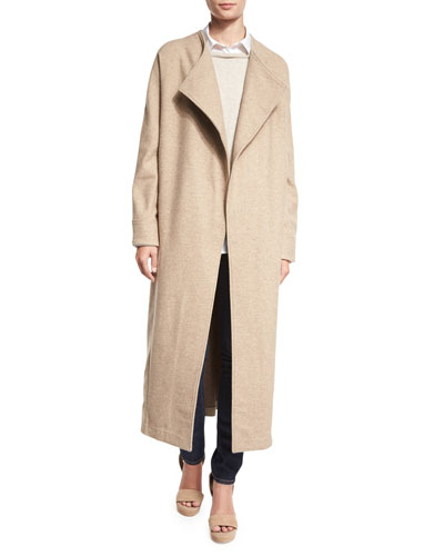 Long Drama Coat, Almond Latte