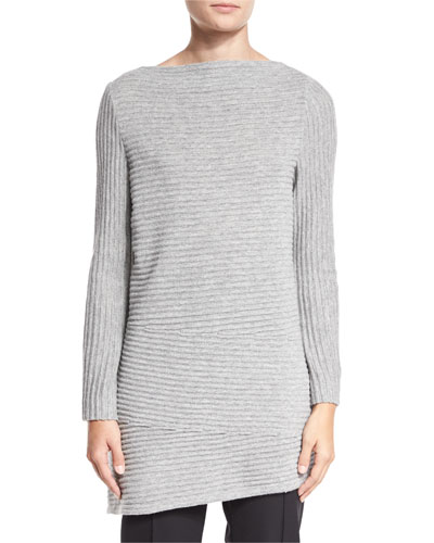 Wool-Cashmere Ribbed Asymmetric Top
