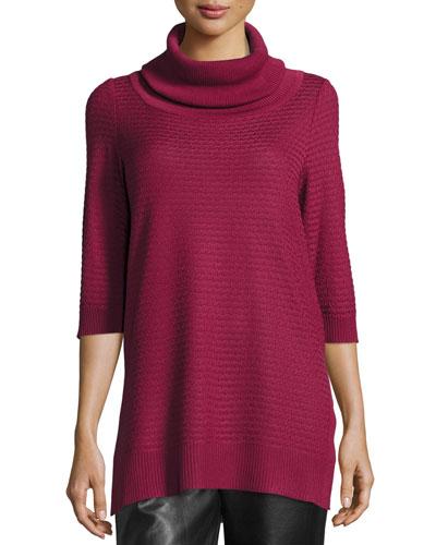 Short-Sleeve Cowl-Neck Tunic