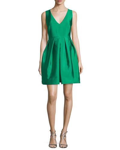 Sleeveless Pleated Taffeta Mini Dress, Kelly Green