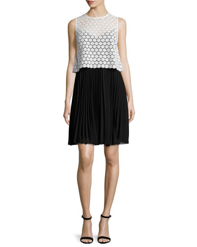Sleeveless Lace & Chiffon Popover Dress, Ivory/Black