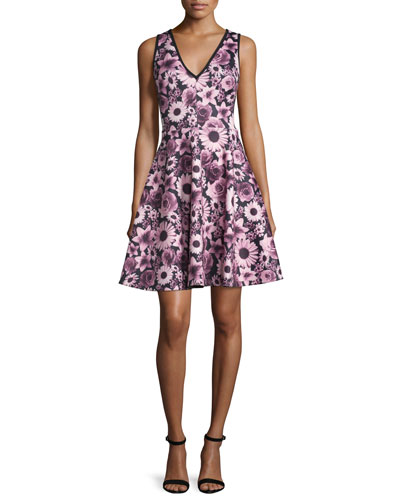 Sleeveless Floral V-Neck Fit-and-Flare Dress, Wine/Multicolor