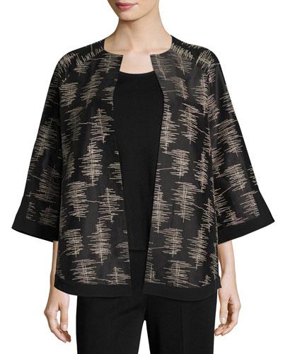 3/4-Sleeve Silk Embroidered Jacket