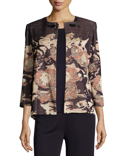Floral Impressionism 3/4-Sleeve Jacket, Navy/Rust/Gold, Petite