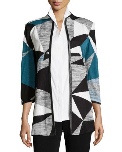 Colorblock Jacket W/ Faux-Leather-Trim, Teal/Black/Ivory, Plus Size