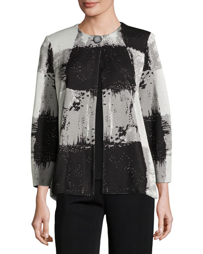 Graphic Squares One-Button Jacket, Petite
