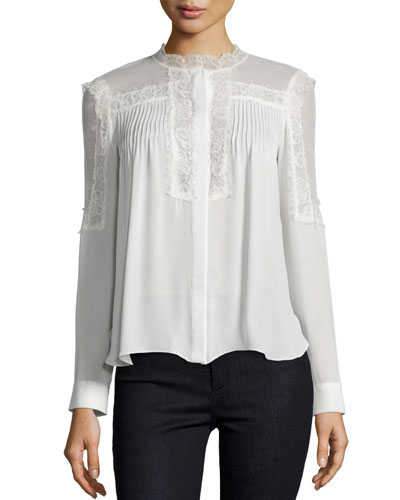 Lace-Trim Collarless Pintucked Silk Blouse, Swan
