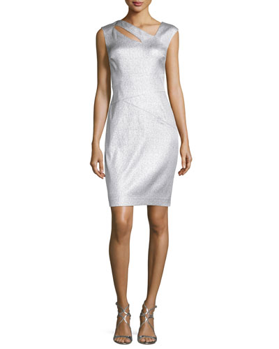 Metallic Jacquard Cutout Dress, Platinum