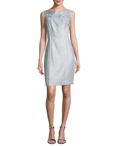 Floral Tweed Sheath Dress, Sky Blue