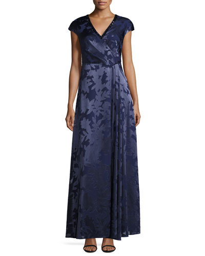 Leaf Printed Coupe Gown with Beaded Neckline, Navy