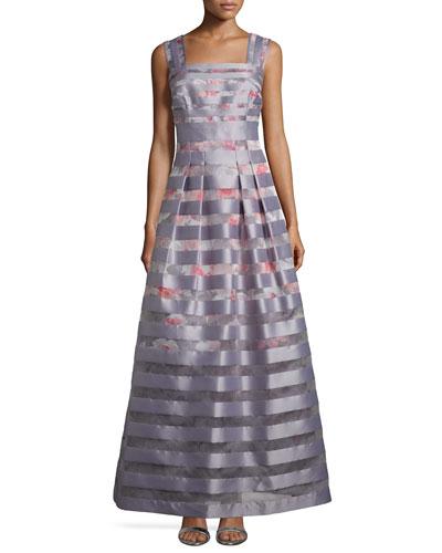 Striped Jacquard A-Line Gown, Platinum