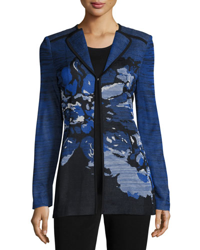 Floral-Print Jacket with Contrast Trim