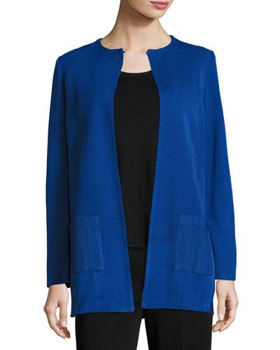 Solid Long Jacket w/ Pockets, Lyons Blue, Plus Size