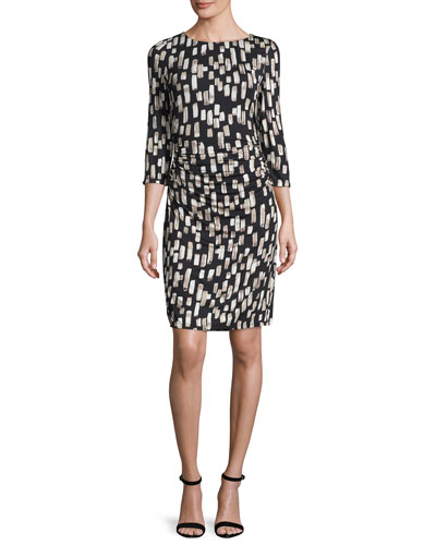 Printed Ruched Jersey Dress, Black/Multi