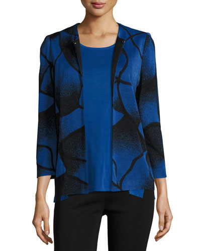 Ribbed Bracelet-Sleeve Jacket, Lyons Blue/Black, Petite