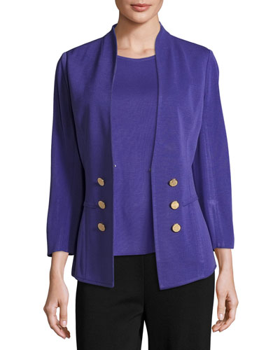 3/4-Sleeve Button-Front Jacket, Grape Royale