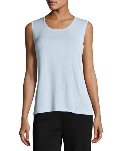 Knit Scoop-Neck Tank Top, Light Blue, Plus Size