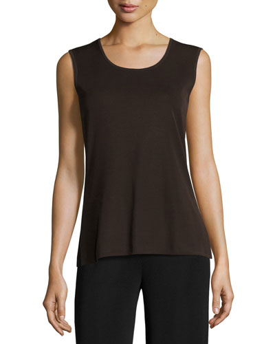 Scoop-Neck Knit Tank, Coffee, Petite
