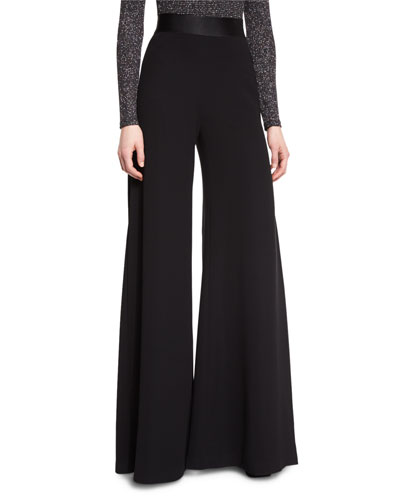 Stone Pleated Wide-Leg Pants, Black