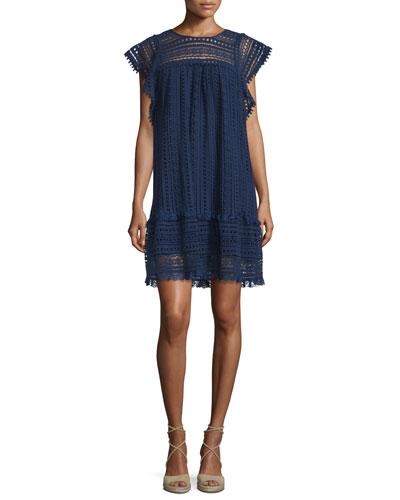 Crochet Butterfly-Sleeve Mini Dress