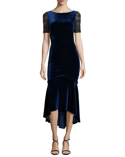 Short-Sleeve Velvet Fit-and-Flare Midi Dress, Sapphire