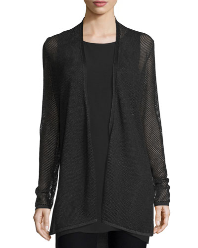 Pointelle Long Tencel® Cardigan, Ash/Black