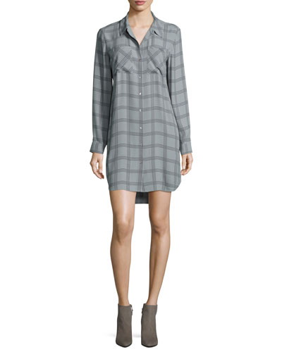 Long-Sleeve Plaid Silk Shirtdress