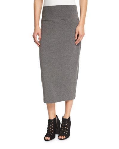 Fold-Over Knee-Length Skirt, Petite