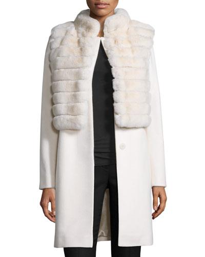 Rabbit Fur & Wool Jacket, Parchment