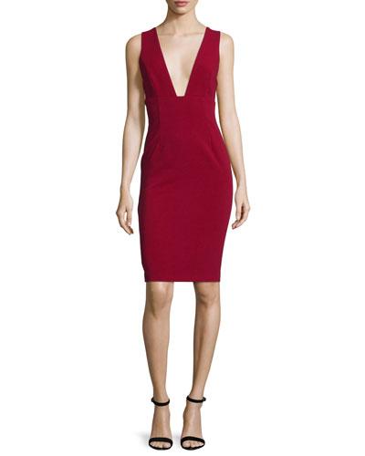 Esmira Sleeveless V-Neck Sheath Dress, Burgundy
