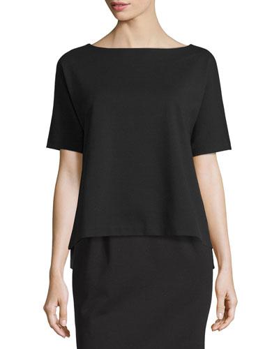 Short-Sleeve Ponte Dolman-Sleeve Top, Black