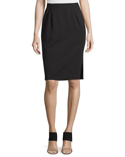 Ponte Pencil Skirt w/ Side Slit, Petite